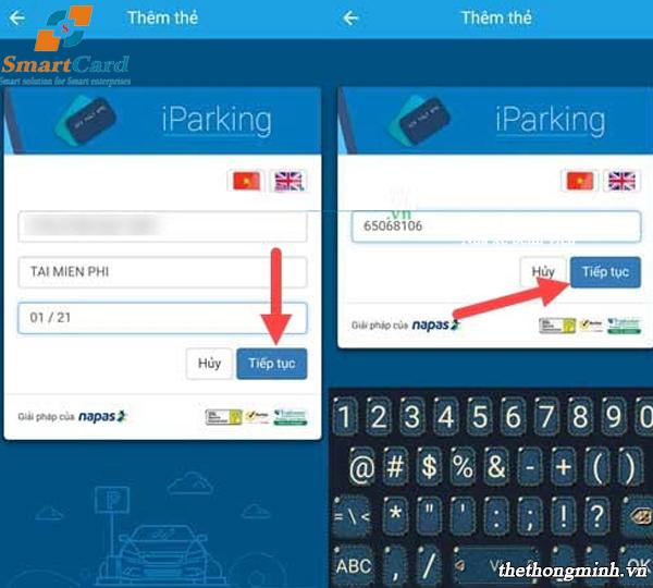 Nhập thông tin chủ thẻ tín dụng vào ứng dụng Iparking