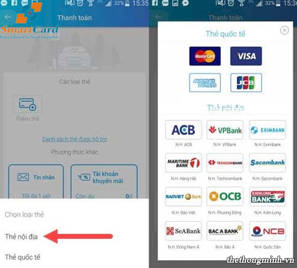 Ứng dụng Iparking hỗ trợ thanh toán với 12 ngân hàng.